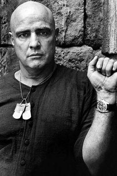 Marlon Brando on the set of 'Apocalypse Now', 1979.