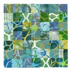 ©Martha Marshall - And finally, a fun grid that I created the other day, made up of squares cut out of the same large sheet, using a 1-7/8″ paper punch. I've added bits of patterned prints to break up the design. This one was very time-consuming, but I was pleased with the result.