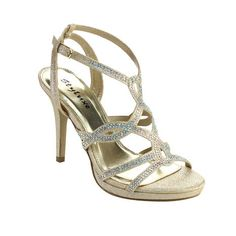 STYLUXE ANDREA-08 Women's Ankle Strap Rhinestones Detailed Strappy Stiletto Heel in [light] gold, from Sears — $27