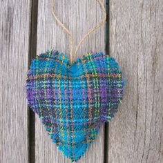 plaid lavender and turquoise heart