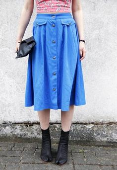 vintage blue button up skirt