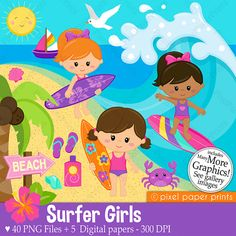Surfer Girls Clipart  Clip Art and Digital by pixelpaperprints