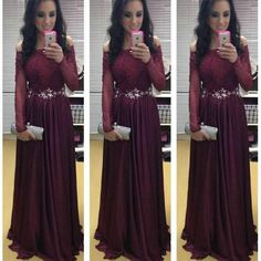 Prepare the prom dresses 2010 for the upcoming prom? Then you need to see  dark red long sleeves prom dresses 2016 princess off the shoulder chiffon with lace beaded floor length a-line evening formal party gowns in weddingdressesonline and other prom dresses for hire and shop for prom dresses on DHgate.com.