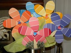 Paint Swatch Flowers Such a cute DIY centerpiece for a summer party