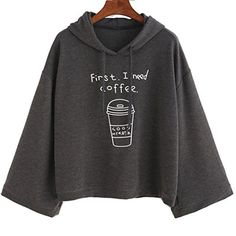SANNYSIS Women long Sleeve Gray Letter Print Hooded Sweatshirt Pullovers Gray at Amazon Women's Clothing store: