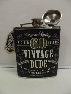 Vintage Dude Flask 60 Milestone 60th Birthday By 1613 GiftsBirthday Gift For