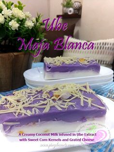 Maja Blanca is basically made with Coconut Milk, Sugar, Corn Starch, Sweet Corn Kernels, and to add a new flavor we infused it in Ube extract and to make it even more special we top it with grated cheese.