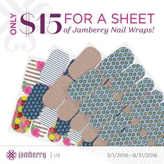 Only $15 per sheet {2 full manicures and 2 full pedicures}!! AMAZING!!  #diynails #jamberry #prettynails #youcantbeatthisprice https://glamjamkh.jamberry.com/us/en/