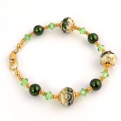Gold and Green Beaded Lampwork Bracelet Beadwork by ramonahall