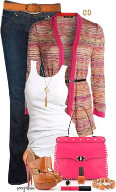 Love the sweater and tank. I could live without the other stuff. Looks like accessory overkill Casual Wear, Casual Outfits, Fashion Outfits, Womens Fashion, Spring Summer Fashion, Spring Outfits, Complete Outfits, Swagg, Casual Looks