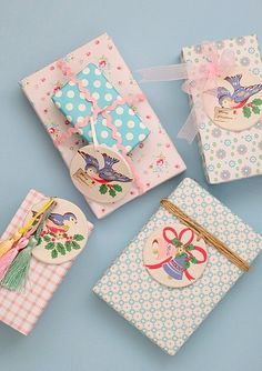 ✂ That's a Wrap ✂ diy ideas for gift packaging and wrapped presents - sweet pastels with bird tags Wrapping Ideas, Creative Gift Wrapping, Creative Gifts, Wrapping Presents, Paper Wrapping, Craft Gifts, Diy Gifts, Handmade Gifts, Pretty Packaging