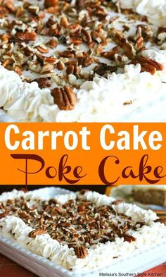 This cream cheese frosted Carrot Cake Poke Cake filled with cheesecake pudding and topped with toasted pecans will delight your Easter guests. Carrot Poke Cakes, Desserts To Make, Bbq Desserts, Spring Desserts, Easter Desserts, Easter Food, Easter Dinner, Easter Brunch, Easter Recipes
