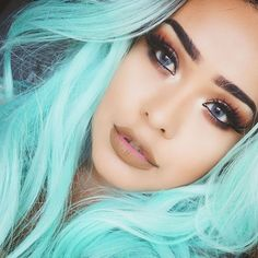 Blue Wigs Lace Frontal Hair Lace Front Ponytail Wig Short Hairstyles F – xxshoop Frontal Hairstyles, Cool Hairstyles, Color Fantasia, Peach Hair, Blue Wig, Moda Chic, Coloured Hair, Pastel Hair, Pastel Blue
