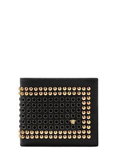 Versace - Studded leather billfold wallet