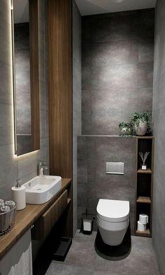Small Toilet Design, Small Toilet Room, Modern Toilet Design, Toilette Design, Bathroom Design Luxury, Modern Bathroom Design, Bathroom Designs, Design Bedroom, Small Luxury Bathrooms