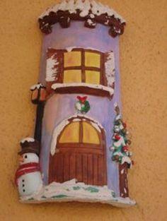 Tejas navideñas Christmas Clay, Roof Tiles, Winter Art, Fairy Houses, Little Houses, Craft Items, Gingerbread, Snowman, Decoupage