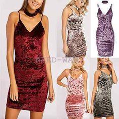 Womens Choker Neck Crushed Velvet Bodycon Strappy Party Mini Dress UK Size 6-14