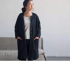White / black Linen textured coat jackets BonLife by BonLife