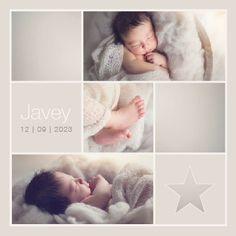 www.hetuilennestje.nl gebootekaartje Javey Jacks: Fotografie/ foto's, collage, ster/ sterretjes, simpel, sfeervol, romantisch, babyfoto, hartje, rustig, lief, zacht, modern, soft.