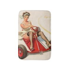 #Sharp curves retro pinup girl bath mat - #Bathroom #Accessories #home #living