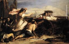 """Agustina de Aragón was a Spanish heroine who defended Spain during the Spanish War of Independence, first as a civilian and later as a professional officer in the Spanish Army. Known as """"the Spanish Joan of Arc"""" David Wilkie, Jules Cheret, Spanish War, Oil On Canvas, Canvas Art, Joan Of Arc, Free Art Prints, Oil Painting Reproductions, Paintings For Sale"""