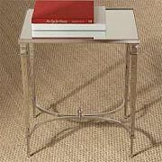 "Table d'appoint en nickel et dessus en miroir- Side Table. ,Fini-Finish: Polished Nickel with Mirrored Top.,19.5""l x 15.5""w x 22""h."