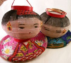 Vtg Japanese KOKESHI Doll OLD Paper Lanterns Pair JAPAN -- Antique Price Guide Details Page