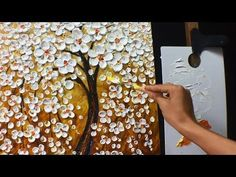 Thick Paint White Flowers Acrylic Painting - YouTube