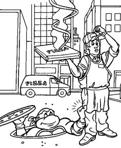 Ninja Turtle and Pizza Delivery  http://makinbacon.hubpages.com/hub/teenagemutantninjaturtlesprintablecoloringpages
