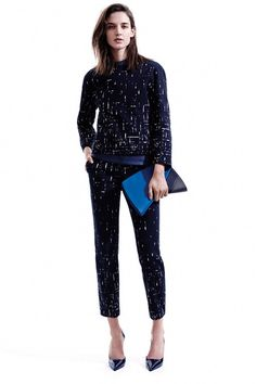 Matchy cropped pants suit! Cool when Narciso prints and cuts it. I hear a deep armchair with my name on it in this...  Narciso Rodriguez | Pre-Fall 2014 Collection | Style.com