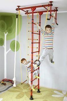 Niro Sportgeräte M1 - Parque infantil con escala, espaldera, columpio y anillas, color rojo