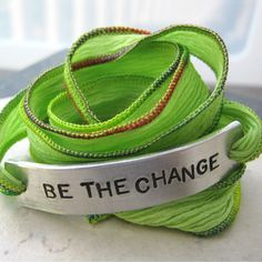 Be The Change silk ribbon wrap aluminum tag with by riskybeads, $23.95