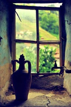 Diário do entardecer. - handa: – Village by Uğur Atik Looking Out The Window, Through The Looking Glass, Old Windows, Windows And Doors, Old Cottage, Window View, Through The Window, Old Doors, Wabi Sabi