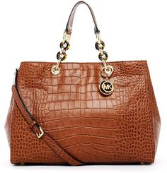 ShopStyle: MICHAEL Michael Kors Cynthia Large Crocodile-Embossed Leather Satchel