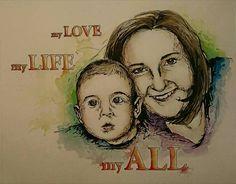 Portrait Familie in Aquarell mit Text