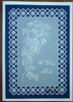 parchment craf.Karteczka ślubna w technice pergaminowej