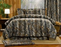 Extreme Detail Depth and Deception True and Unique Camo with Blend Bark, Leaves and Limbs Comforters, Bespreads, Quilts by Victor Mill Camo Bedding, Rustic Bedding, King Size Bedding Sets, Comforter Sets, Timber Beds, Design Your Bedroom, Bed Styling, Bedding Collections, Furniture Design