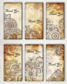 Oriental, Henna drawing, Thank You, Om, Tags -  Digital Collage Sheet, Download and Print Jpeg Clip Art Images. $3.00, via Etsy.