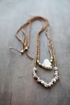 Mixed Media Boho Necklace / Beige Golden Brown by BlueBirdLab