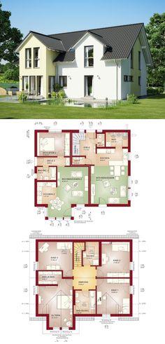 Einfamilienhaus mit Einliegerwohnung und Satteldach - Zweifamilienhaus Grundriss Evolution 207 V4 Bien Zenker Fertighaus Architektur - HausbauDirekt.de