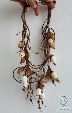 "Купить Колье ""Беломорье"" - бежевый, капучино, купить колье в москве, купить в москве, купить подарок Scarf Jewelry, Textile Jewelry, Fabric Jewelry, Leather Jewelry, Beaded Jewelry, Fabric Beads, Fabric Ribbon, Felt Necklace, Magical Jewelry"