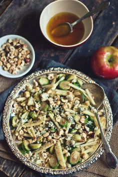 Roasted Brussels Sprout Salad with Apples, Hazelnuts & Blue Cheese