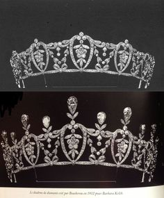 Both diamond versions of an adapatable tiara made in 1912 by Boucheron