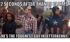 Post with 4341 votes and 135712 views. Tagged with dump, marvel cinematic universe; Shared by Marvel Dump 2 (Stolen) Letterkenny Problems, Letterkenny Quotes, 10 4 Good Buddy, Diy Dog Costumes, Bad Puns, Dc Memes, Tough Guy, Bridal, Videos Funny