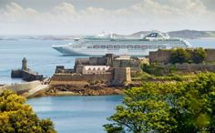 Castle Cornet with Cruise Ship in front of Herm Island