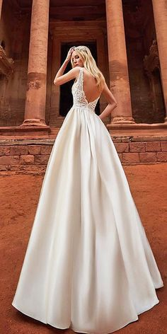 15 Oksana Mukha 2018 Wedding Dresses ❤ oksana mukha 2018 wedding dresses a line v back sleeveless lace top ❤ Full gallery: https://weddingdressesguide.com/oksana-mukha-2018-wedding-dresses/