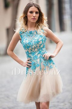 Turquoise Blue Lace Top Champagne Tulle Keyhole Back Short Prom Dress 406daba7b15b