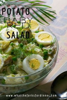 Baby Red Potato Salad - Baby red potatoes combined with celery, green, onion, hard boiled eggs, and sweet green peas, in a creamy dill dijon dressing.