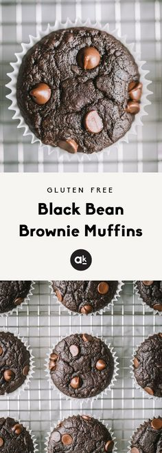 Flourless black bean muffins that taste like a delicious, cakey brownie! These easy, fiber packed muffins are gluten free and the perfect healthy treat. #glutenfree #chocolate #muffins #healthyfood #healthyrecipes #dessert #grainfree