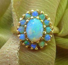 VERY Fine VERY Intense 14k Victorian Opal ring